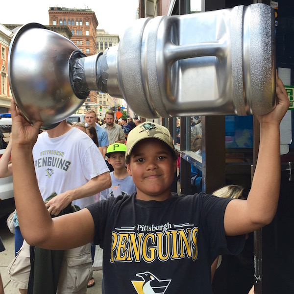 Boy with homemade Stanley Cup, Pittsburgh Penguins 2016 victory parade