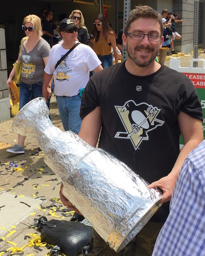 Man with homemade Stanley Cup, Pittsburgh Penguins 2016 victory parade