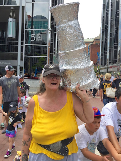 Woman with homemade Stanley Cup, Pittsburgh Penguins 2016 victory parade