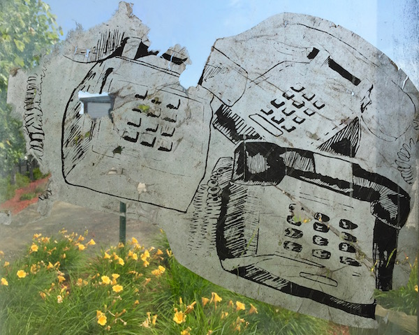 image of hand-drawn telephones wheatpasted to glass bus shelter, Pittsburgh, PA