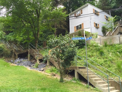 city steps with older home, Pittsburgh, PA