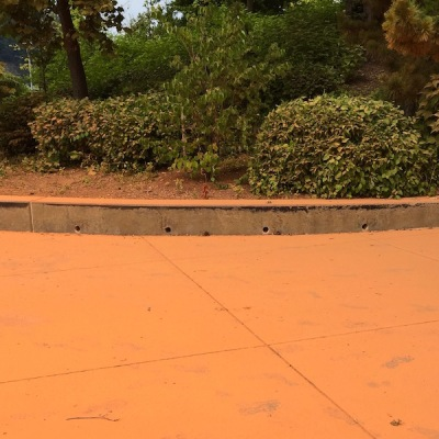 orange dust covering sidewalk and bushes