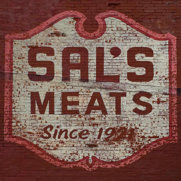 """ghost sign reading """"Sal's Meats Since 1921"""", Ambridge, PA"""