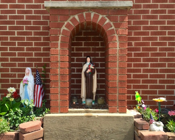 front yard Mary in grotto with a separate front yard Mary, Pittsburgh, PA