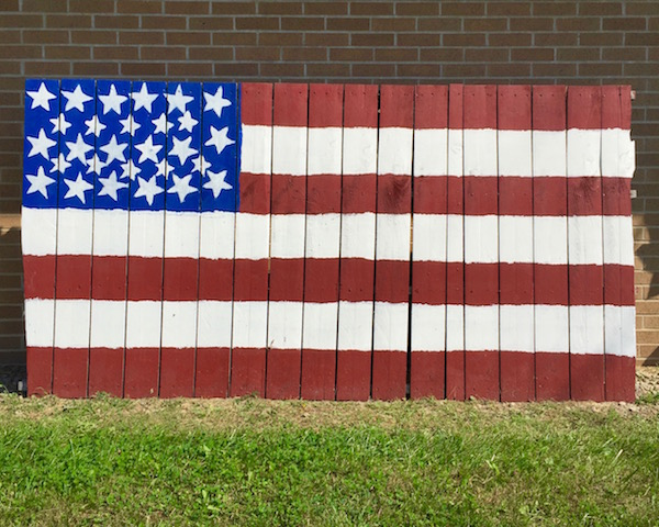 American flag made from recycled wood, Apollo, PA