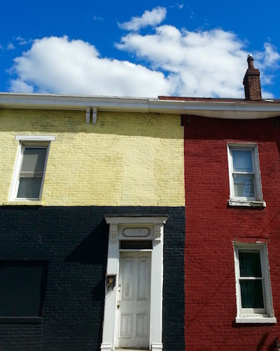 row house painted black and gold, Pittsburgh, PA
