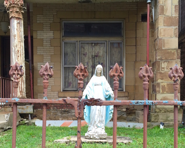 Statuette of Mary in front yard, Homestead, PA