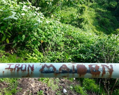 """graffiti reading """"Iron Maiden"""" carved into handrail of city steps, Pittsburgh, PA"""