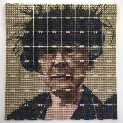 portrait of Mary Cassatt made from egg cartons by artist Verónica Arellano