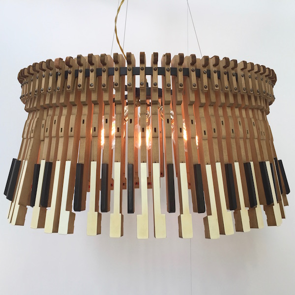 pendant lamp created by artist Imanol Ossa from piano keys