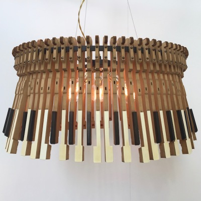 pendant lamp created by artist Imanol Ossa from piano keys