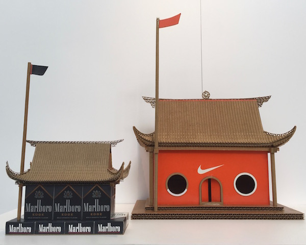 Chinese temples made by artist Gao Yansong from recycled boxes