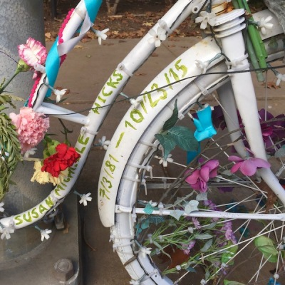 detail of ghost bike for Susan Hicks, Pittsburgh, PA