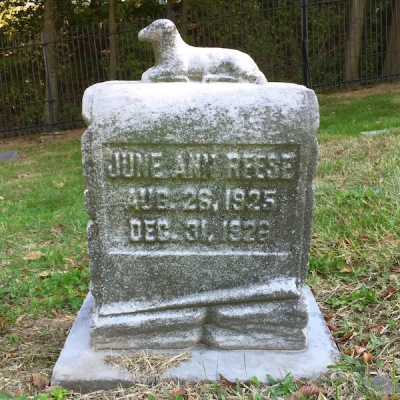 weathered gravestone with lamb, Union Dale Cemetery, Pittsburgh, PA
