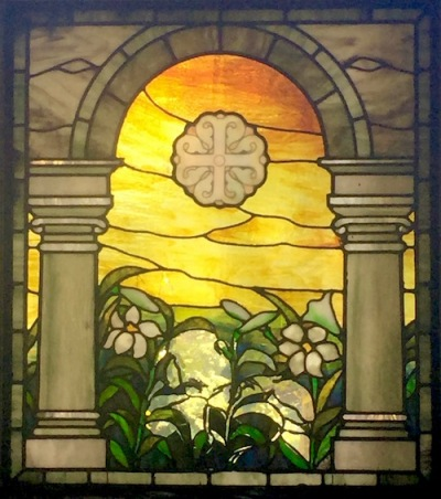 broken mausoleum stained glass with arch and white flowers, Allegheny Cemetery, Pittsburgh, PA