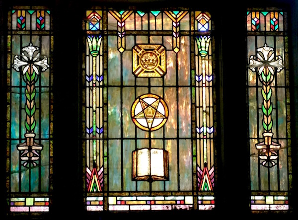 mausoleum stained glass with pentagram, Allegheny Cemetery, Pittsburgh, PA
