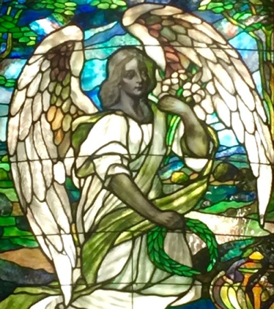 mausoleum stained glass with angel, Allegheny Cemetery, Pittsburgh, PA