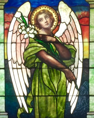 mausoleum stained glass with angel in green tunic, Allegheny Cemetery, Pittsburgh, PA