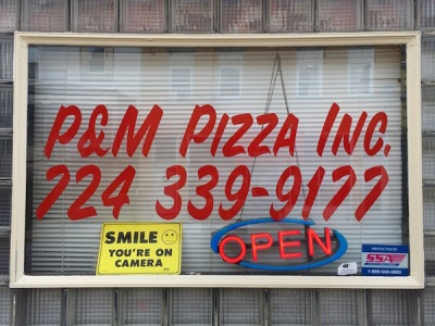 front window of P&M Pizza, Inc., Arnold, PA