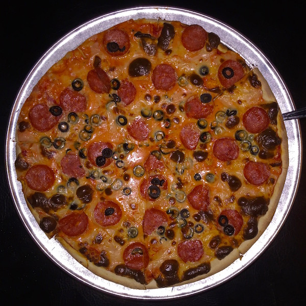 whole pepperoni and black olive pizza from above, P&M Pizza, Arnold, PA