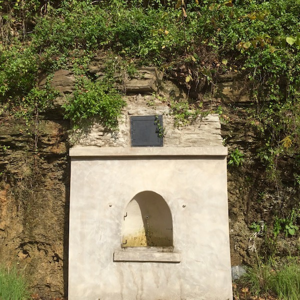 masonry enclosure for natural spring in hillside, Pittsburgh, PA