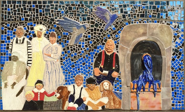 """Detail from public mosaic """"The German Settlers of Spring Hill"""" depicting the Spring Hill spring, Pittsburgh, PA"""
