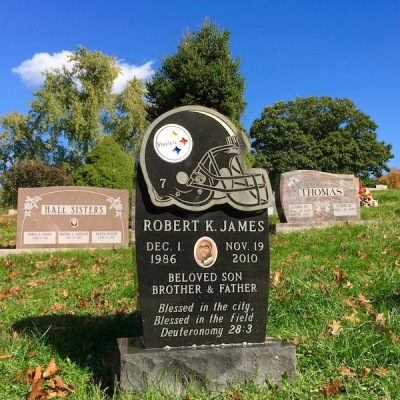 gravestone with Pittsburgh Steelers football helmet, Allegheny Cemetery, Pittsburgh, PA