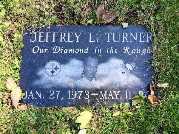gravestone with Pittsburgh Steelers logo, Allegheny Cemetery, Pittsburgh, PA