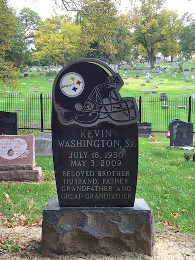 gravestone with large Pittsburgh Steelers football helmet, Highwood Cemetery, Pittsburgh, PA