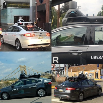 collage of photos of Uber self-driving cars being tested on Pittsburgh city streets