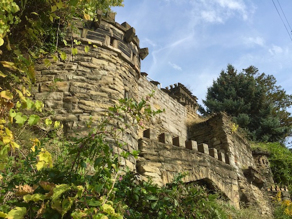 retaining wall on hillside constructed to look like medieval castle, Pittsburgh, PA