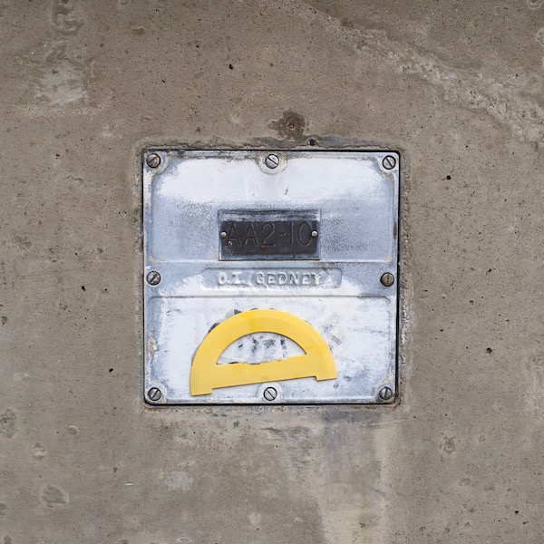 protractor glued to pedestrian overpass, Pittsburgh, PA