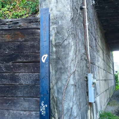 protractor glued to I-beam in city park, Millvale, PA