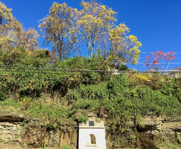 natural spring in concrete pedestal embedded in hillside, Pittsburgh, PA