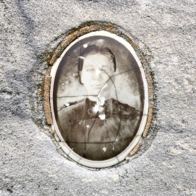 detail of ceramic photograph on headstone for Antonija Komlenić, Loretto Cemetery, Pittsburgh, PA