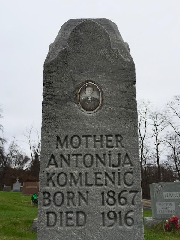 headstone for Antonija Komlenić, Loretto Cemetery, Pittsburgh, PA
