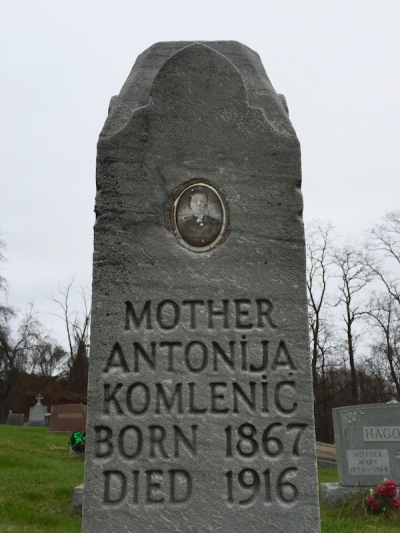 headstone for Antonija Komlenić, Loretto Cemetery, Pittsburgh, PA
