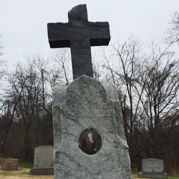 marble headstone with large cross and embedded ceramic photograph of young man, Loretto Cemetery, Pittsburgh, PA