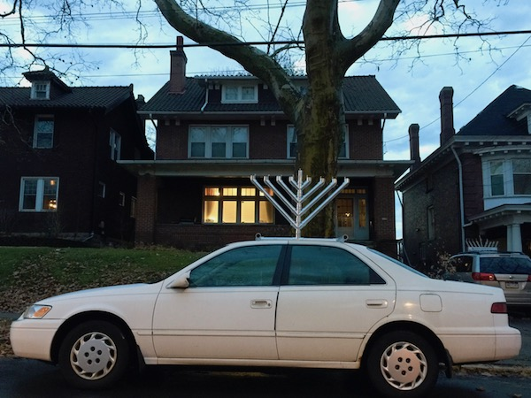 white car with home made menorah on roof, Pittsburgh, PA