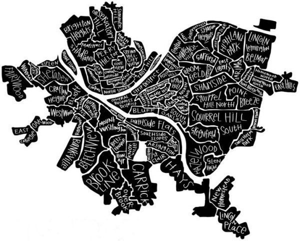 stylized map of the city of Pittsburgh by neighborhood