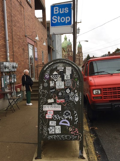 protractor attached to graffiti-covered mailbox, Pittsburgh, PA