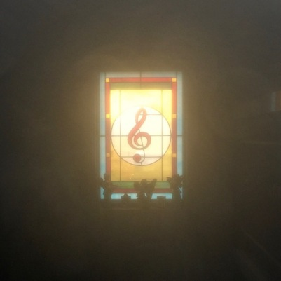 stained glass window with treble clef symbol, Arthur and Alfreda Antignani mausoleum, Allegheny County Memorial Park, Allison Park, PA