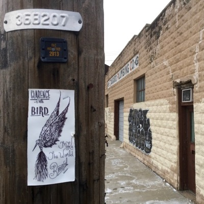 paper Clarence the Bird drawing stapled to telephone pole, Pittsburgh, PA
