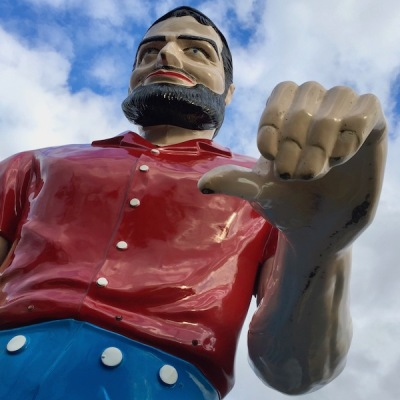 detail of the muffler man of Mr. Tire, Uniontown, PA