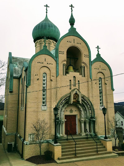 exterior view of onion-domed St. Nicholas Orthodox Church, Donora, PA