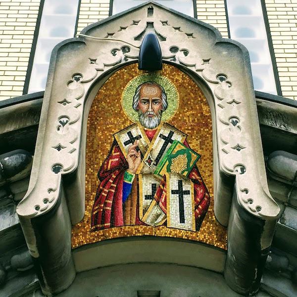 mosaic of St. Nicholas above entryway to St. Nicholas Orthodox Church, Donora, PA