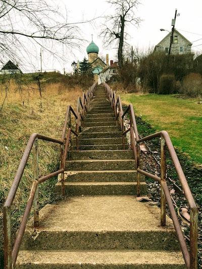 view up city steps to St. Nicholas Orthodox Church, Donora, PA
