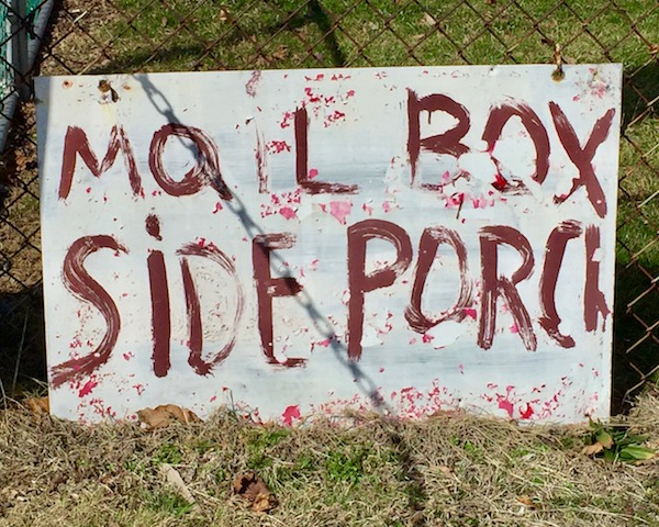"hand-painted sign reading ""Mail Box Side Porch"", Pittsburgh, PA"