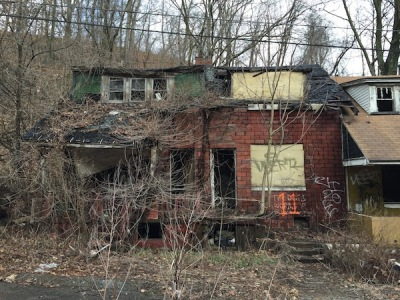 abandoned double-house with roof collapsed, Clairton, PA