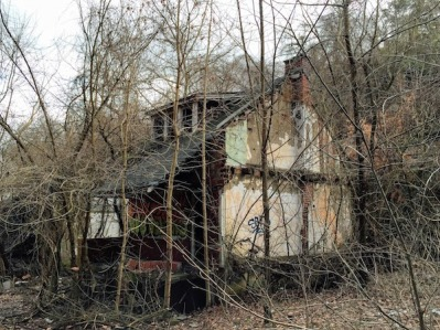 abandoned house covered in bare trees, Clairton, PA